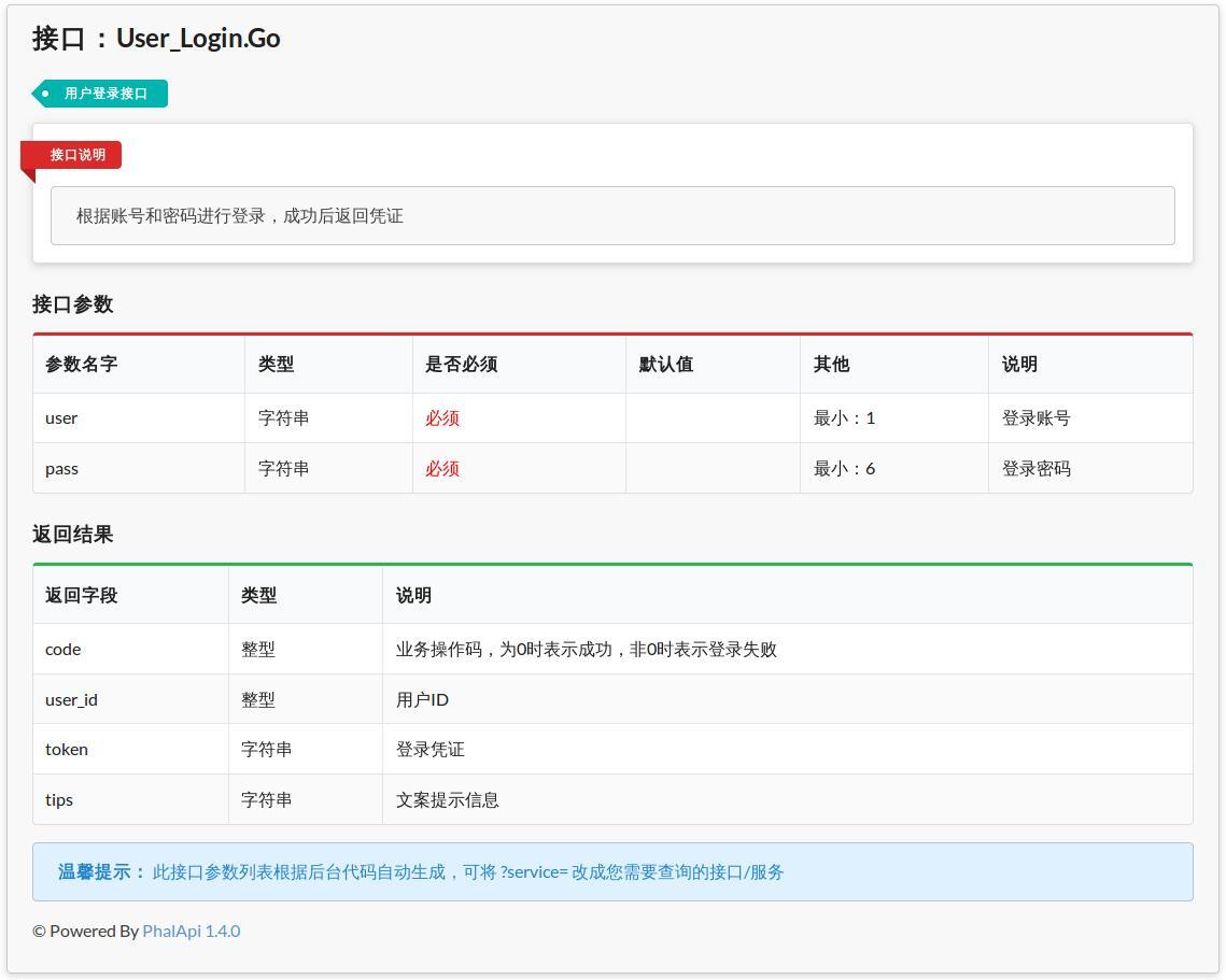 图7-1 自动生成的登录接口服务在线文档